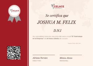 Diploma capacitación CELACE
